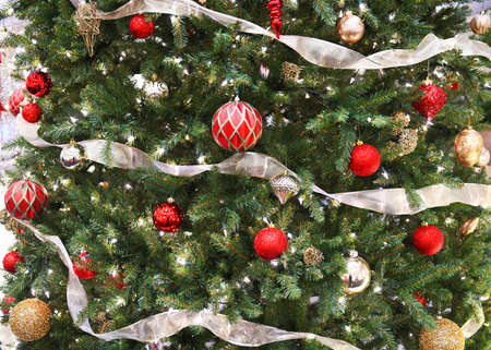 Close up on Christmas tree with decoration Stok Fotoğraf - 154455801