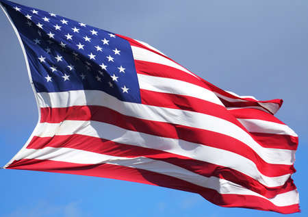 close up on USA flag waving in the wind
