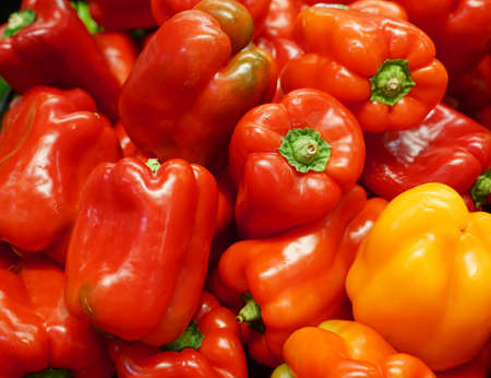 close up on fresh red pepper in pile
