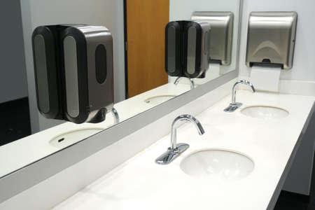 close up on modern public bathroom sink