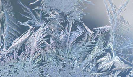 frost crystal on window glass in winter season Stok Fotoğraf