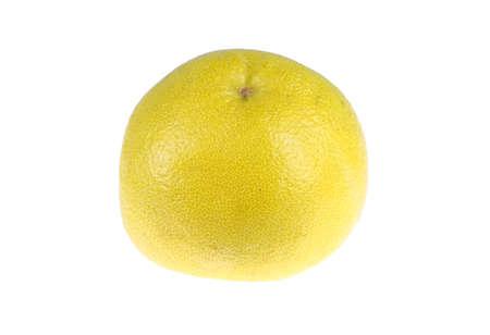 single yellow grapefruit isolated on white background