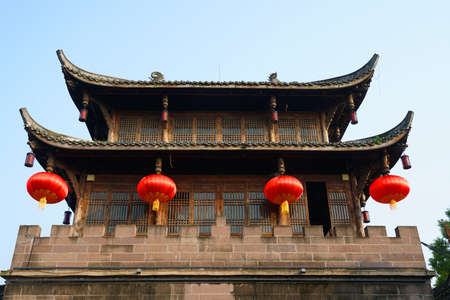 low angle view of ancient Chinese style city gate with red lantern Stok Fotoğraf