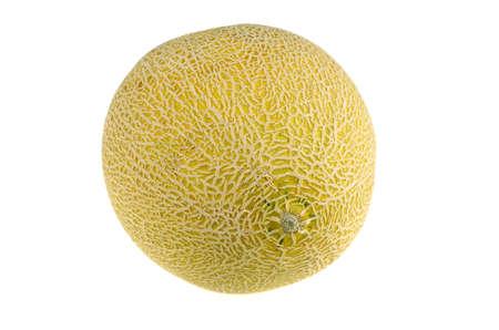 single cantaloupe melon isolated on white background Stok Fotoğraf