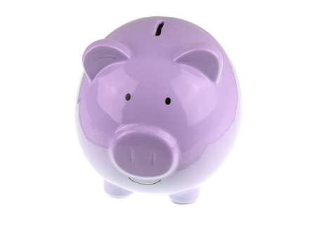 Purple piggy bank isolated on white background