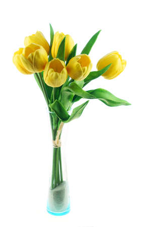 close up on artificial yellow tulip in the vase Stok Fotoğraf
