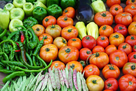 close up on various colorful fresh vegetables