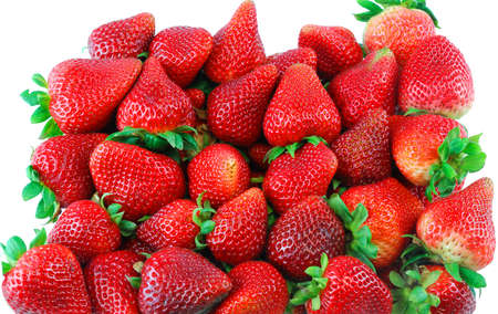 fresh strawberry pile in harvest season as food background