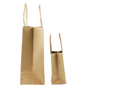 brown paper bags isolated on white background 免版税图像