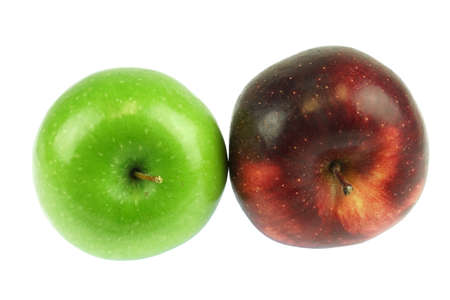green and red apples isolated on white background Stok Fotoğraf