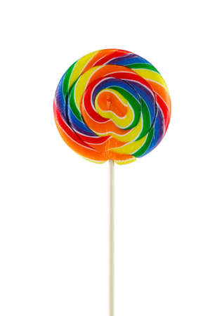 single colorful lollipop isolated on white background