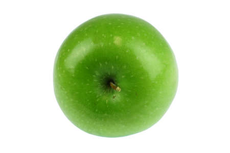 single green apple isolated on white background