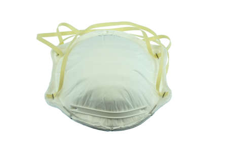 close up on N95 mask isolated on white background