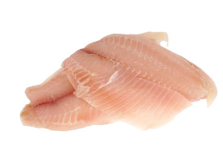 fresh raw tilapia fish fillet isolated on white background