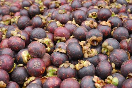 close up on fresh mangosteen fruit as food background 免版税图像 - 159418584