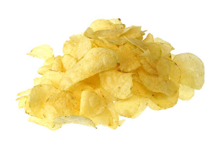 close up on fried potato chips isolated on white background 免版税图像