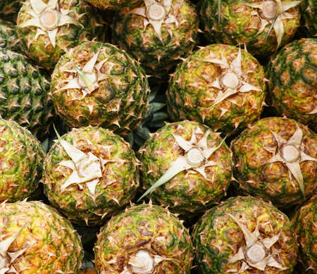 top view of pile of pineapple as food background 免版税图像