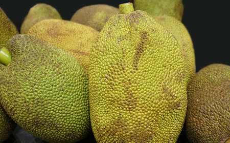 close up on tropical fruits jackfruits in pile