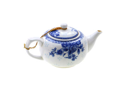 single porcelain teapot china isolated on white background