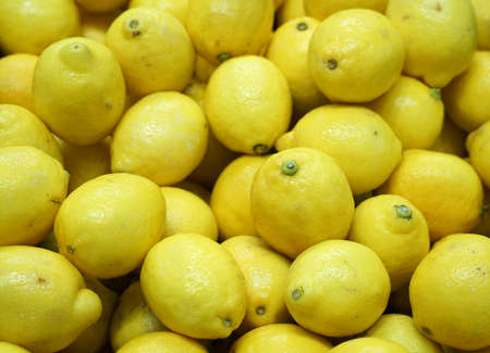 fresh yellow lemon pile as food background