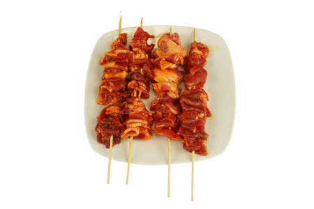 the skewer raw meat in plate for grill