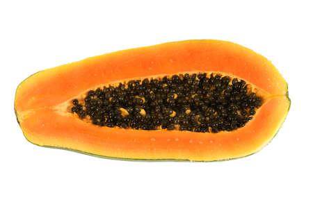 fresh cut papaya isolated on white background