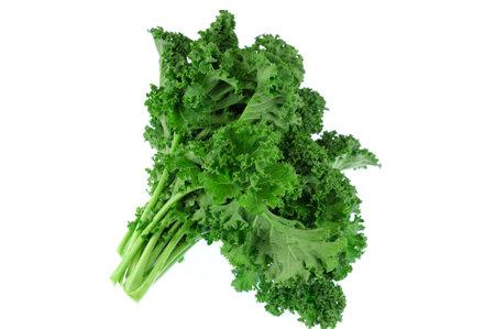 fresh green kale vegetable isolated on white background