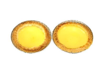 fresh baked egg tart isolated on white background