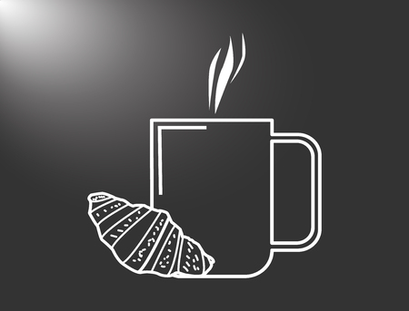 coffee cup with croissant vector illustration. Coffe with croissant icon