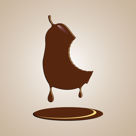 Chocolate pear with a stitch from the teeth.