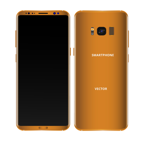 Gold mobile phone concept, front view and backside with camera, flash and speaker on a white background. Smartphone with camera buttons, power and volume. Vector realistic high detailed illustration.