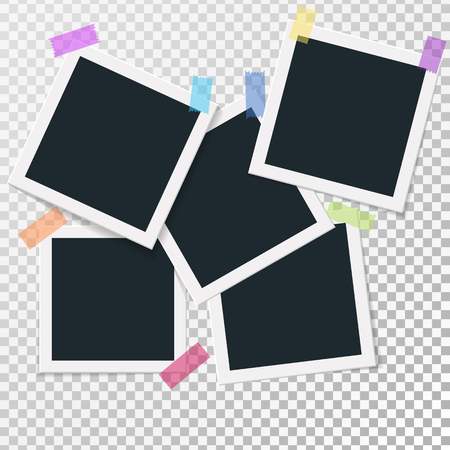 Set of square vector photo frames on sticky tape. Vertical and horizontal template photo design. Vector illustration. Isolated on transparent background