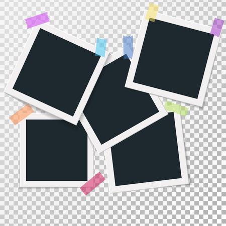Set di cornici quadrate vettoriale su nastro adesivo. Disegno di foto modello verticale e orizzontale. Illustrazione vettoriale Isolato su sfondo trasparente Archivio Fotografico - 86473064