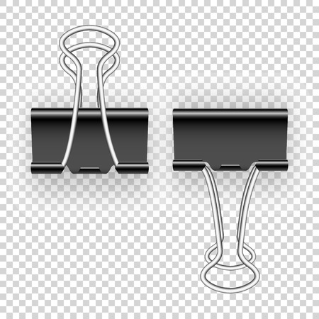 Black metal binding clips for paper.