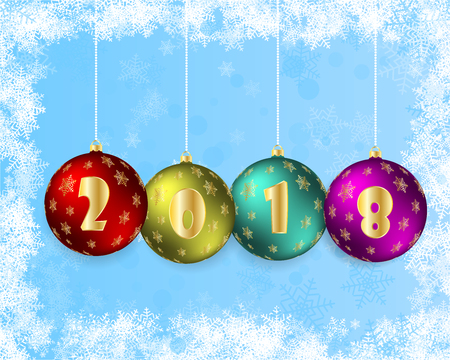 Vector illustration of a happy new year 2018 in the form of Christmas balls. Beautiful background graced layers. Can be used for postcards Reklamní fotografie - 89139945