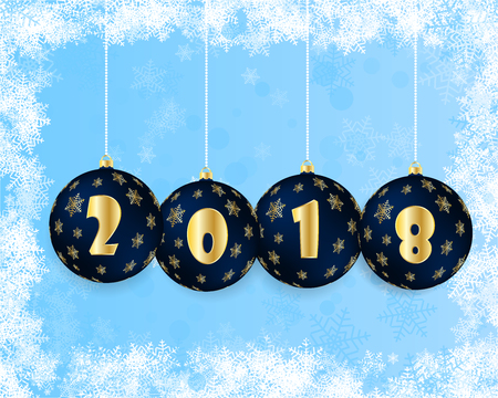 chrismas card: Vector illustration of a happy new year 2018 in the form of Christmas balls blue and gold title . Beautiful background graced layers. Can be used for postcards Illustration