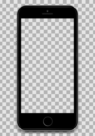 Copy the Black Smartphone into the Apple iphone 6 design with a blank screen to present your application design. A smartphone in the design of an apple. Smartphone in iphone design.Black Cellular phone isolated. All sorted by groups, easy to edit. Vector illustration