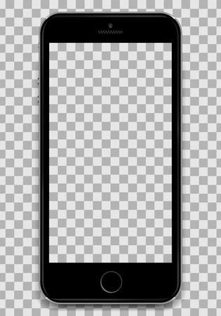 Copiez le smartphone noir dans le design de l'iPhone 6 d'Apple avec un écran vierge pour présenter le design de votre application. Un smartphone dans la conception d'une pomme. Smartphone en design iphone. Téléphone cellulaire noir isolé. Tous triés par groupes, faciles à modifier. Illustration vectorielle Banque d'images - 91326511
