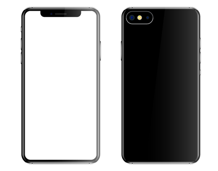 Black smartphone isolated white background front back vector illustration.