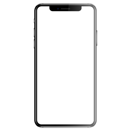 Black smartphone isolated white background front vector illustration.