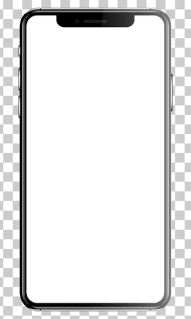 Black smartphone isolated transparency background front back side vector illustration. Vettoriali