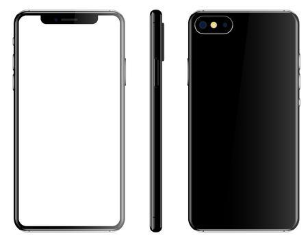 Black smartphone isolated white background front back side vector illustration. Vettoriali