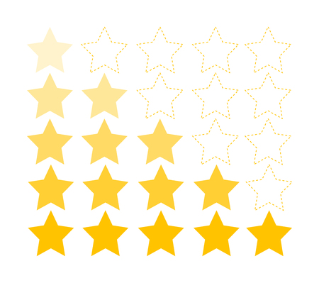 Product rating, app rating or customer reviews are decorated with golden stars. Vector icons for applications and websites.