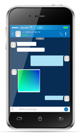 Mobil phone - messenger chat desing. Chat template, sms for smartphone. Illustration