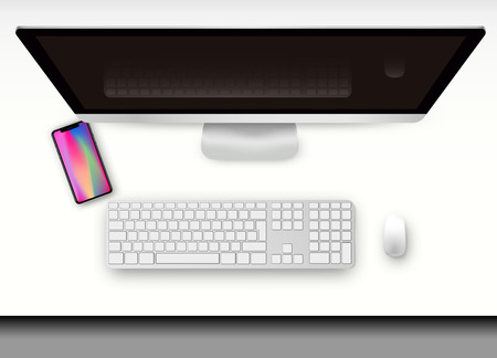 Realistic technologies, a desktop with a presentation of a smartphone and a computer. Illustration