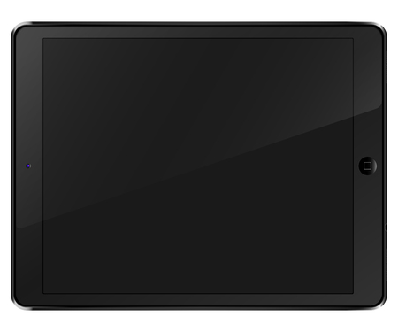 Tablet computer black front view isolated in a white background. To present your application