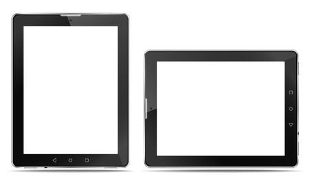 Rrealistic tablet computers with a connector for headphones and with speakers, in order to express your application.