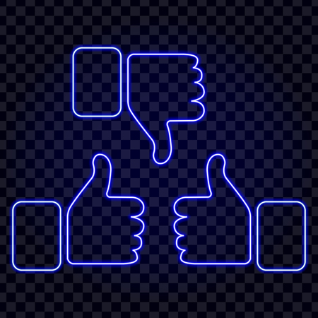 Like / Dislike icon - thumb up / down neon isolated on transparancy background