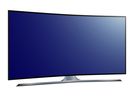 Curved tv Ultra HD screen - stock vector.