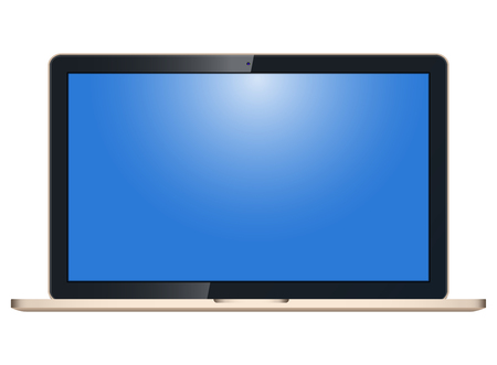 Realistic laptop with blank screen to present your application design. On white background.